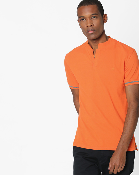 Johnny Collar Polo T-shirt By UNITED COLORS OF BENETTON ( Orange )
