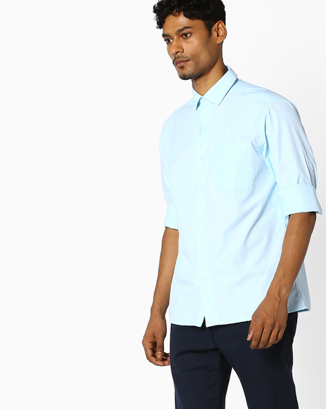 Slim Fit Shirt With All-Over Woven Design By JOHN PLAYERS ( Aquablue )