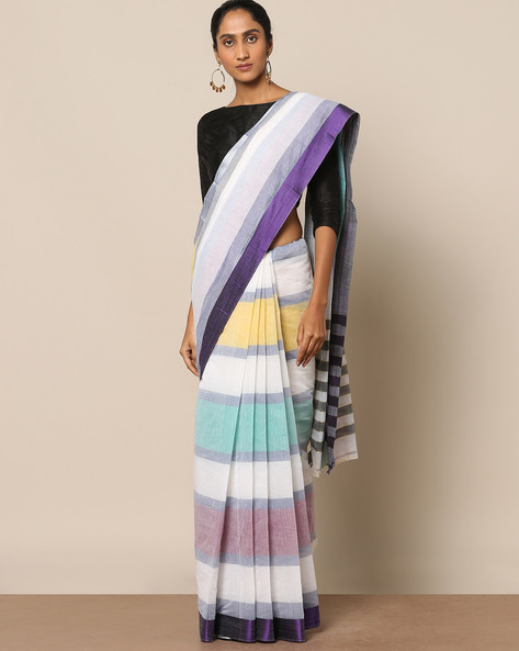 Striped Cotton Saree With Striped Border By Indie Picks ( Multicolour )