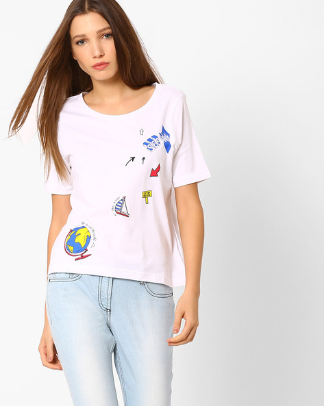 Graphic Print Crew-Neck T-shirt By AJIO ( Offwhite )