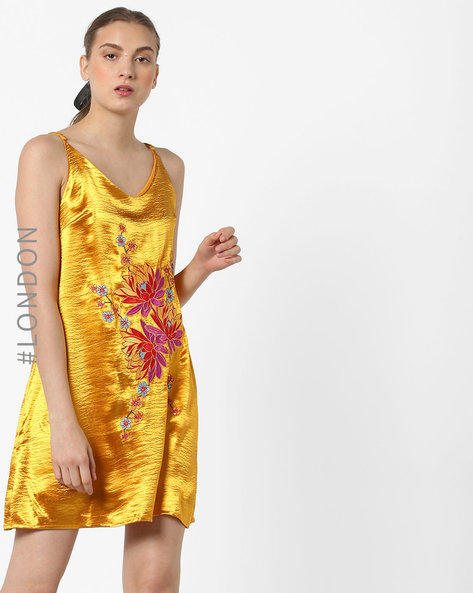Mini Slip Dress With Floral Embroidery By Glamorous ( Yellow )