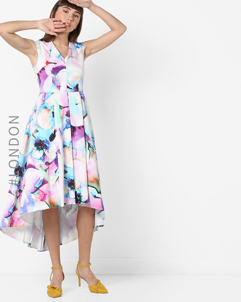 Printed High-Low Sleeveless Dress By Closet London ( Multi )