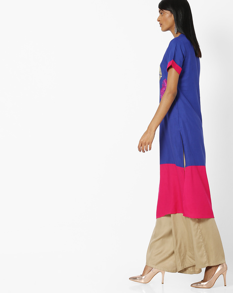 Panelled Straight Kurta With Embroidery By Indian Ink ( Navyblue )