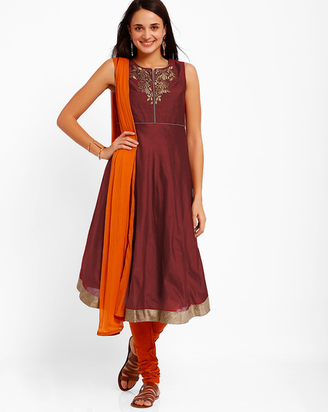 Chanderi Churidar Kurta With Dupatta By AJIO ( Red )