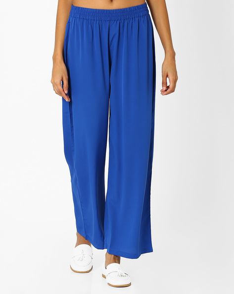 Palazzo Pants With Elasticated Waistband By AURELIA ( Blue )
