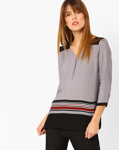 Striped Top With Contrast Panels By Annabelle By Pantaloons ( Black )