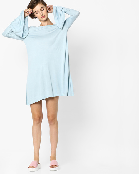 Tent Dress With Bell Sleeves By AJIO ( Blue )