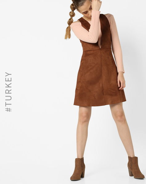 Sleeveless A-line Dress With Plunge Neckline By TRENDYOL ( Brown )