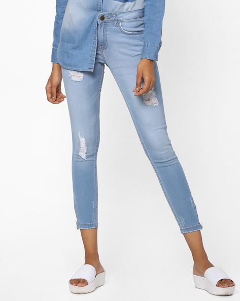 Lightly Washed Distressed Skinny Jeans By AJIO ( Lightblue )