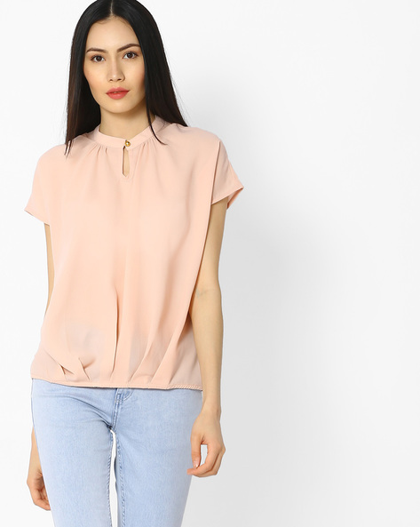 High-Neck Top With Gathers By Vero Moda ( Peach )