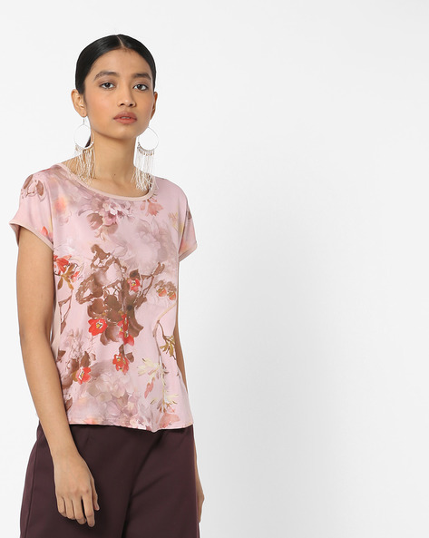 Knit Floral Print Top By FIG ( Ltpeach )