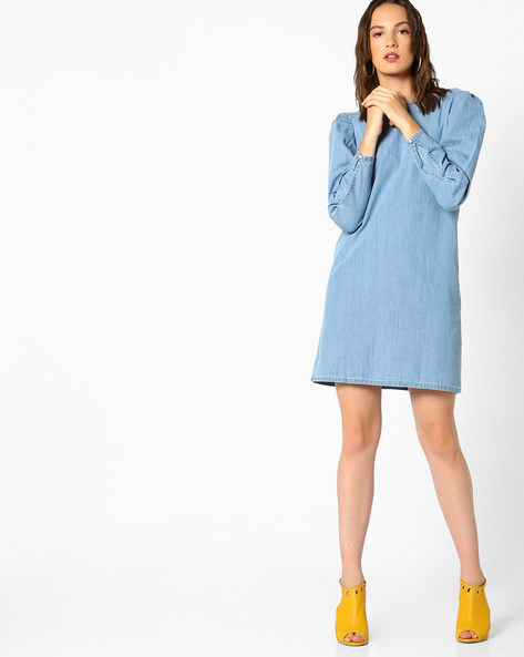Denim Shift Dress With Puff Sleeves By AJIO ( Lightblue )