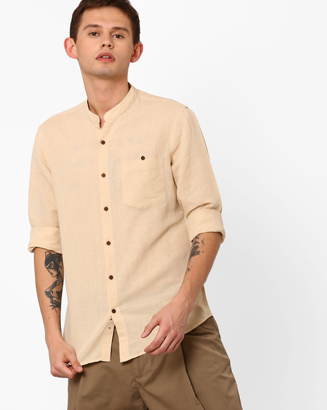 Linen Slim Shirt With Mandarin Collar By AJIO ( Offwhite )