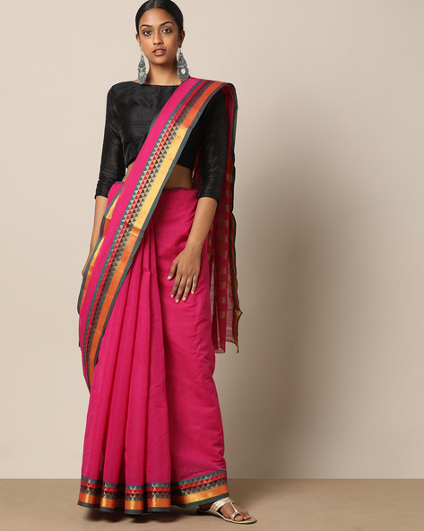 South Cotton Saree With Striped Pallu By Indie Picks ( Pink )