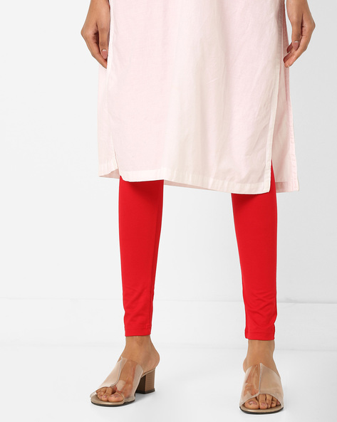High-Rise Churidar Leggings By Global Desi ( Red )