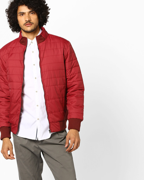 Slim Puffer Jacket With Front Zipper By Nature Casuals ( Maroon )