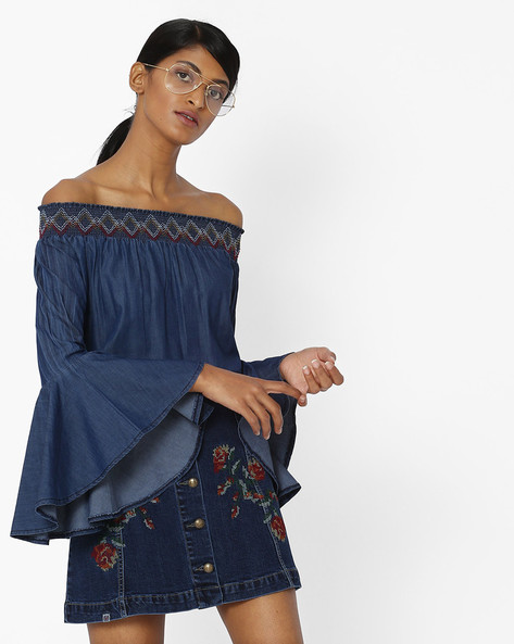 Off-Shoulder Top With Bell Sleeves By Tarama ( Blue )
