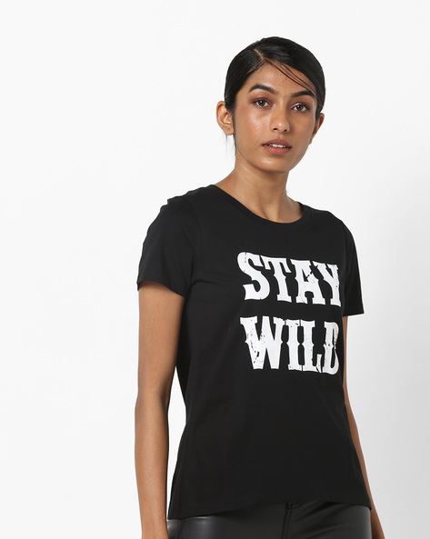 Crew-Neck T-shirt With Typographic Print By Vero Moda ( Black )