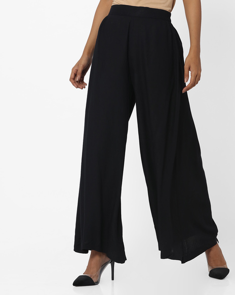 Palazzo Pants With Elasticated Waist By Indusdiva ( Black )