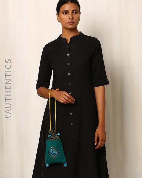 Kutch Soof Hand Embroidery Potli Bag By Indie Picks ( Darkgreen )