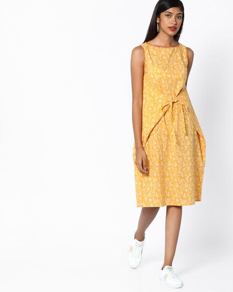 Floral Print Sleeveless Dress By AJIO ( Mustard )