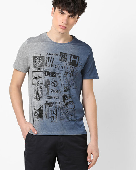 Graphic Print Dyed T-shirt By AJIO ( Blue )