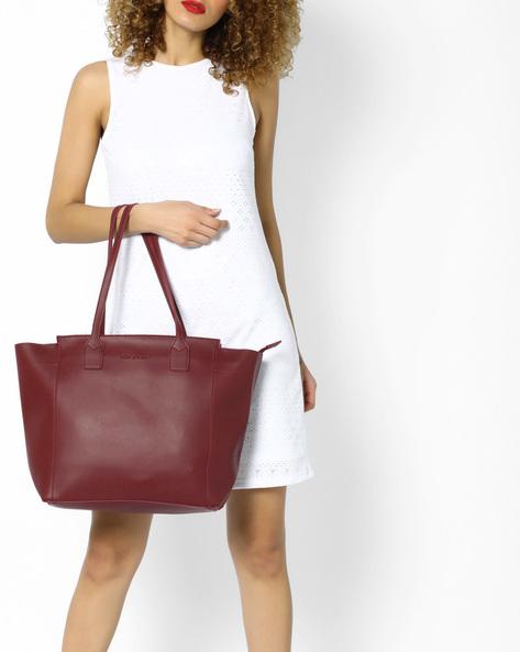 Tote Bag With Short Handles By FUR JADEN ( Maroon )