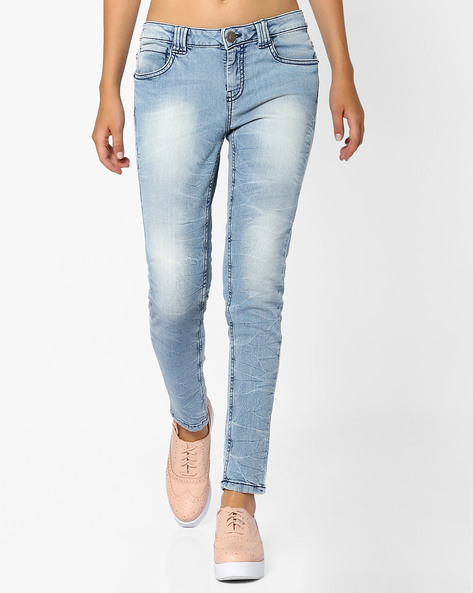 Mid-Rise Skinny Fit Jeans By Ginger By Lifestyle ( Lightblue )