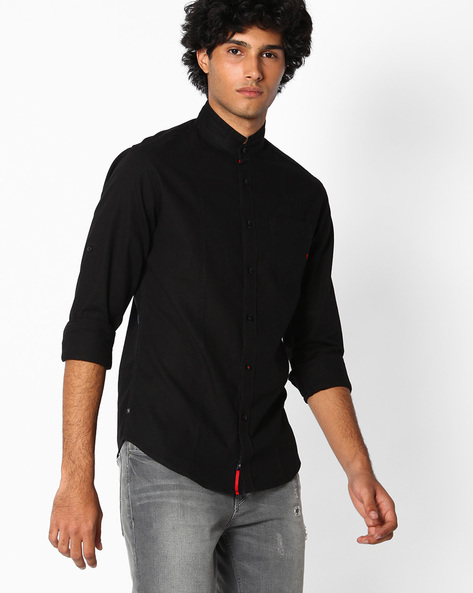 Slim Fit Shirt By The Indian Garage Co ( Black )