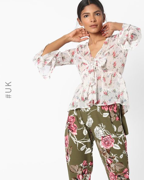 Floral Print Top With Bell Sleeves & Tie-Up By INFLUENCE ( Cream )