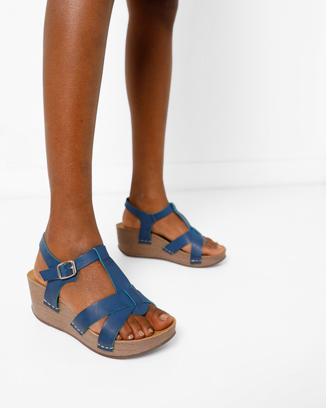 Open-Toed Wedges With Buckle Closure By Lavie ( Blue )