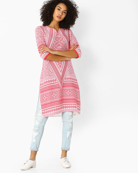 All-Over Print Straight Kurta By FUSION ( Pink )