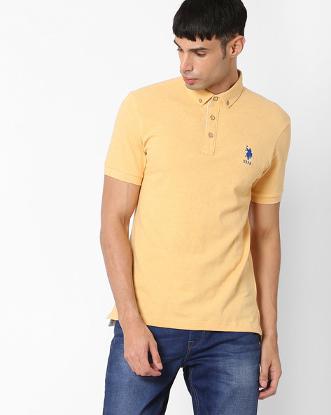 Slim Fit Polo T-shirt By US POLO ( Yellow )