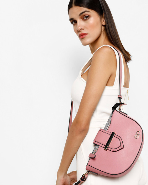 Sling Bag With Magnetic Snap Closure By E2O ( Pink )