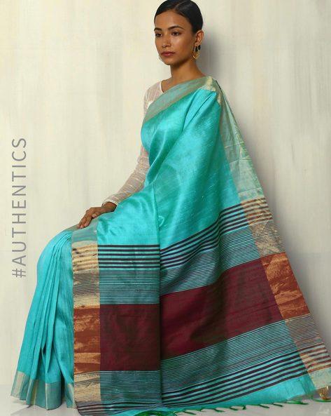 Handloom Pure Silk Dupion Saree With Zari Border By Pretty Woman ( Aqua )