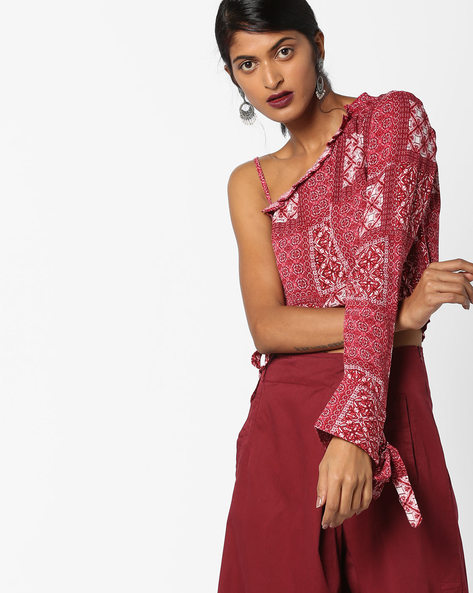 One-Sleeve Crop Top With Tie-Ups By Oxolloxo ( Red )