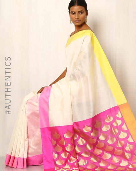 Handwoven Pure Silk Cotton Chanderi Saree By Indie Picks ( Cream )