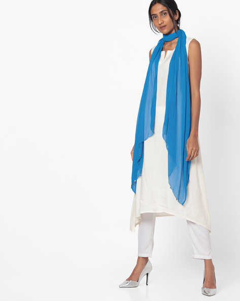 Chanderi Dupatta With Embellishments By Melange By Lifestyle ( Blue )