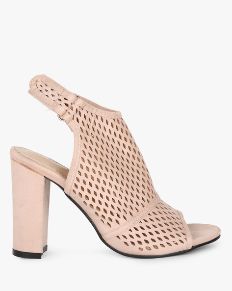 Laser-Cut Slingback Chunky-Heeled Sandals By MFT Couture ( Apricot )