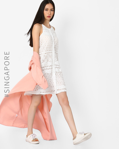 Openstitch Crochet Overlay Dress By MDS ( White )