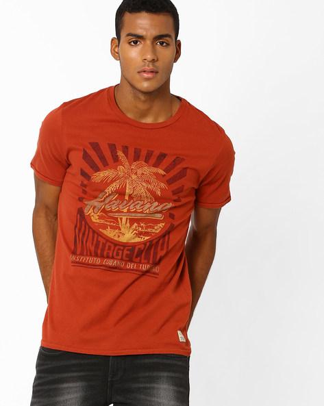 Slim Fit Printed T-shirt By Jack & Jones ( Maroon )