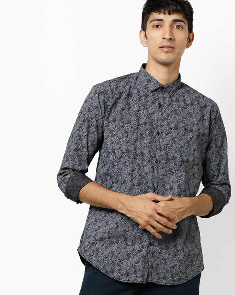 Floral Print Shirt With Curved Hemline By BASICS ( Black )