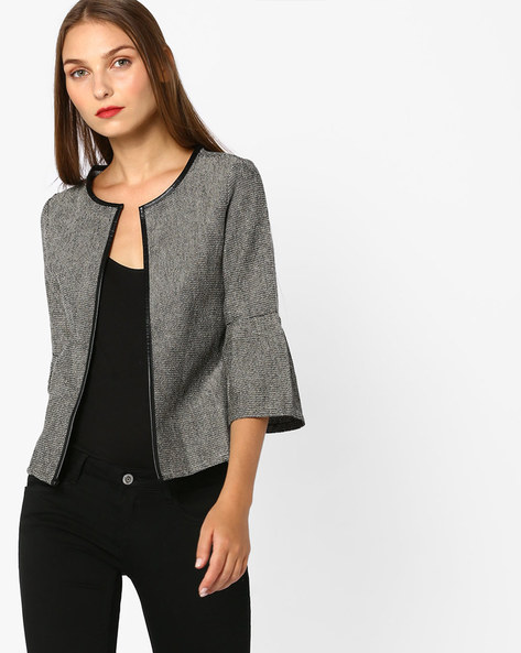 Textured Open-Front Jacket By CODE By Lifestyle ( Grey )