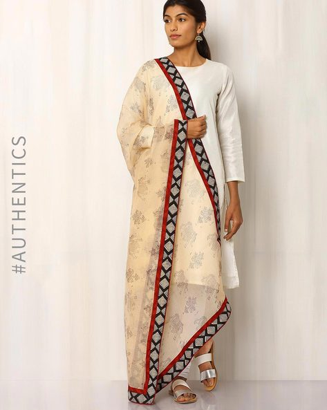 Hand Block Print Kota Dupatta With Patchwork By Indie Picks ( Cream )