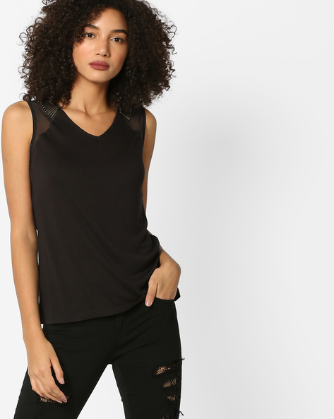 Jersey Top With Sheer Shoulder Panels By AJIO ( Black )
