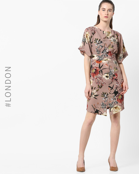 Floral Print Dress With Kimono Sleeves By Closet London ( Multi ) - 460171232001