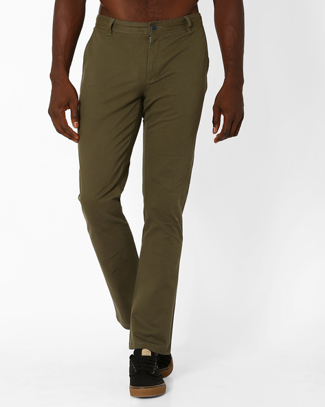 Mid Rise Slim Fit Stretch Chinos By AJIO ( Olive )