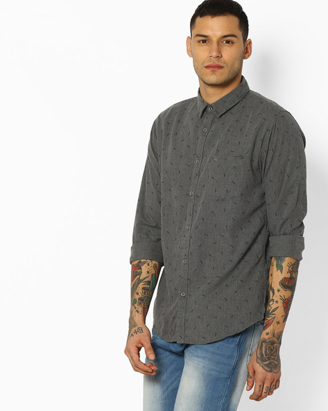 Printed Slim Fit Shirt By BASICS ( Grey )