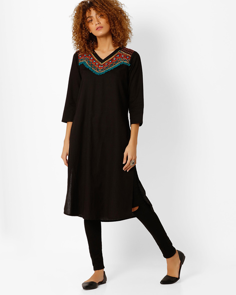 Kurta With Embroidered Yoke By Global Desi ( Black )