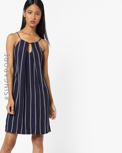 Strappy Striped Dress With Keyhole Neckline By MDS ( Navyblue )